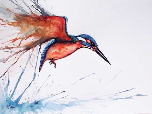 A3 Kingfisher Watercolour