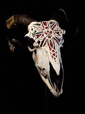 Carved Union Flag Sheep Skull