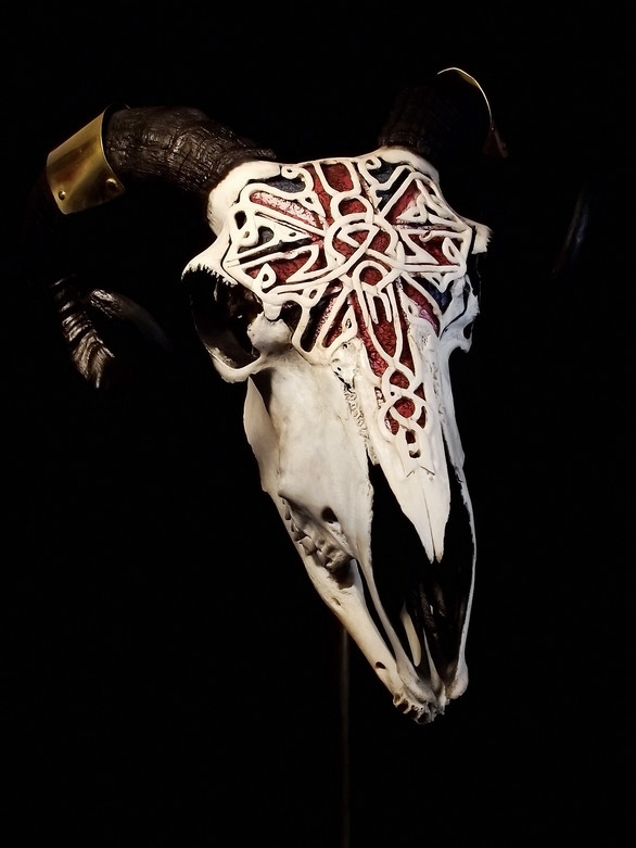 Carved Union Flag Sheep Skull