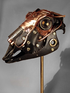 Lens Metal & Copper Sheep Skull