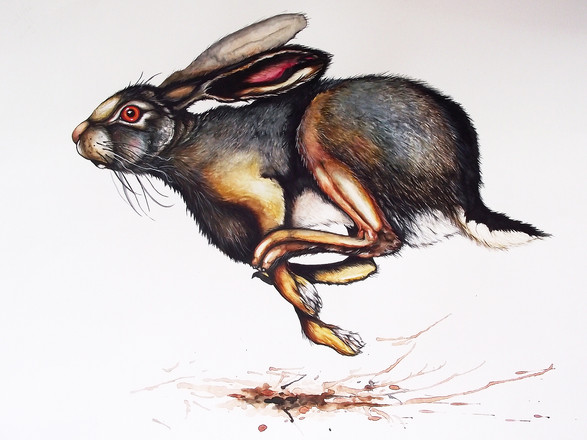 A2 Running Hare Watercolour