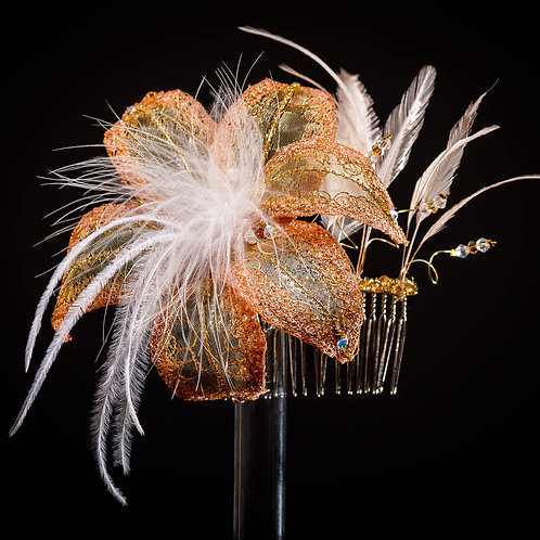 Bronze Lily Comb Headpiece