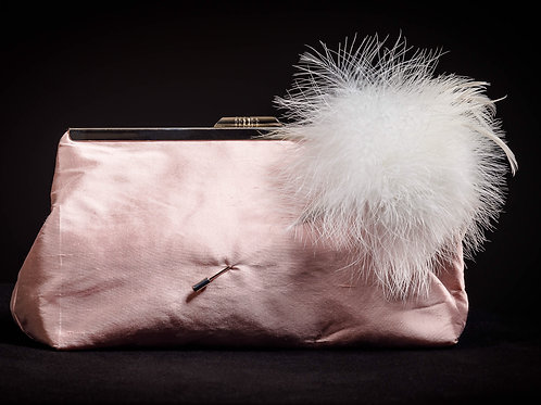 Silk Clutch Bag in Blush