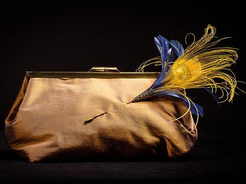 Silk Clutch Bag in Bronze