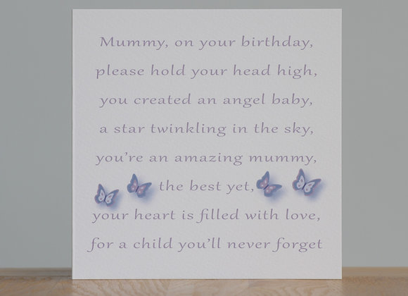 Birthday Card for a bereaved Mummy from her Angel(s)