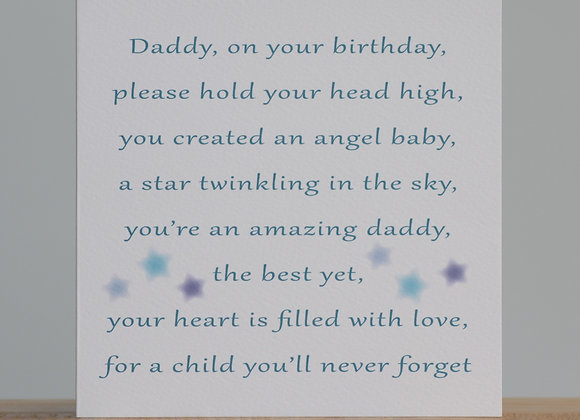 Birthday Card for a bereaved Daddy from his Angel(s)