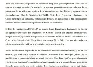 Importante información del Plan de Contingencia COVID-19.