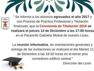 Importante información Ceremonia de Titulación...