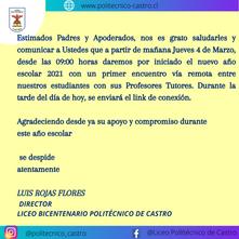 INICIO AÑO ESCOLAR 2021