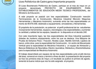Liceo Politécnico gana importante proyecto