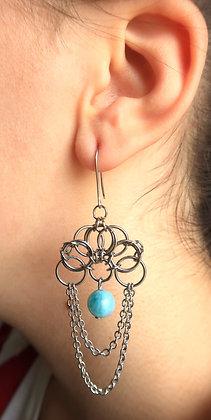"""Boucles d'oreilles """"ERAS"""" Calcite bleue"""