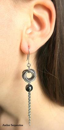 """Boucles d'oreilles """"OLOV"""" Hématite"""