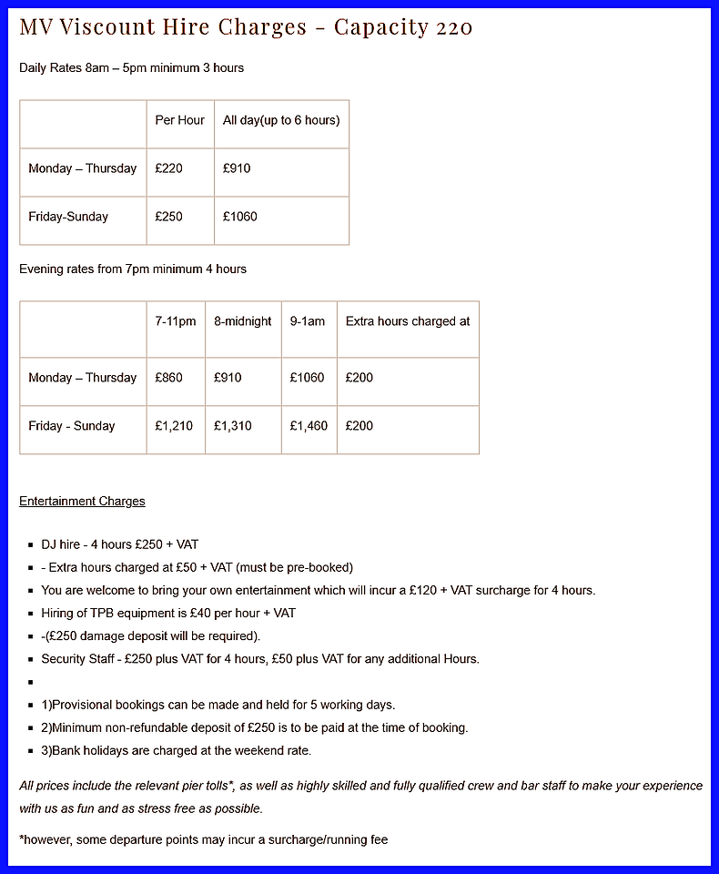 Viscount boat hire prices