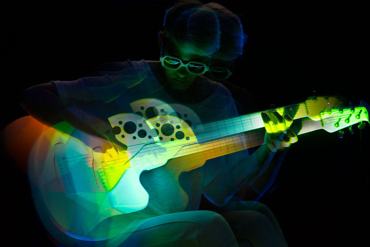 Double exposure; experimental photography; music photography; color grading, corgam, synesthesianow