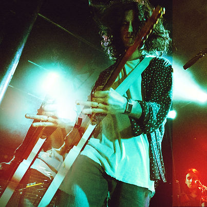 Nick Valensi of CRX at Slim's in San Francisco, photo by Corgam for Synesthesia. Experimental Photography. Double Exposure. Light Leaks. Photoeditor. Photograder. Gibson Les Paul. Bigsby. Concert Photography.