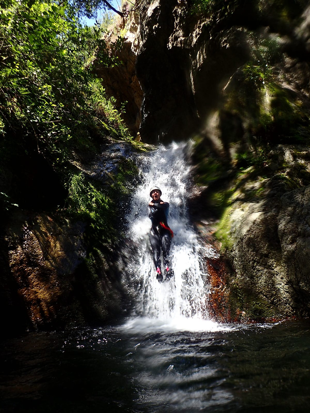 Toboggan dans la partie inf du canyon du Mas Cal Sant