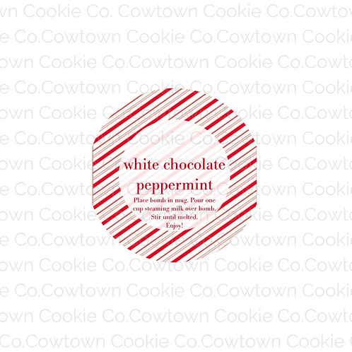 white chocolate peppermint bomb label