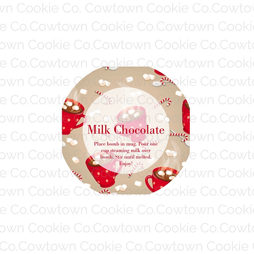 Milk chocolate bomb label