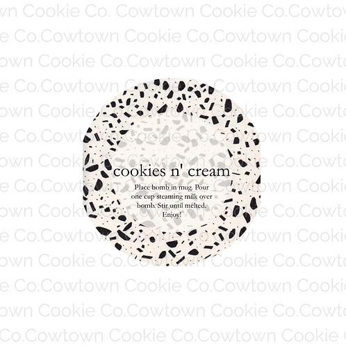 cookies n' cream bomb label
