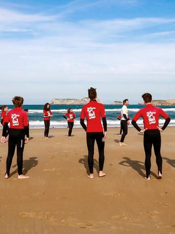 Calentamiento curso de surf