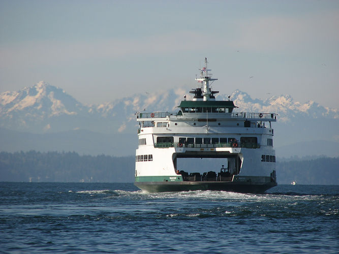 Ferry on Puget Sound heading toward Olympic Mountains