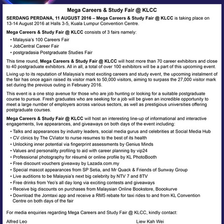 Mega Careers and Study Fair 2016 Press Release