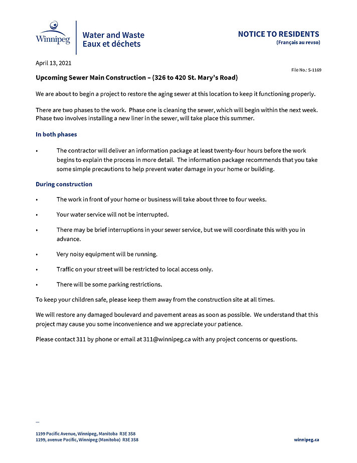 WWDNotice-CIPP Sewer Main ConstructionTe