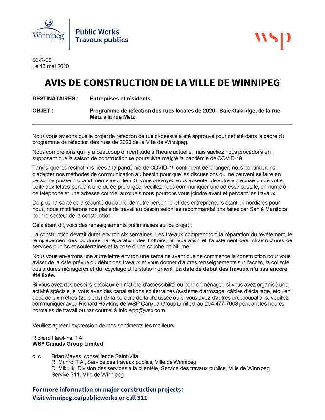 Oakridge Bay_Pre-Construction Notice Reh