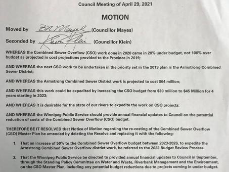 CSO Motion at Council Meeting