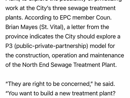 Study of privatizing our sewage treatment utility