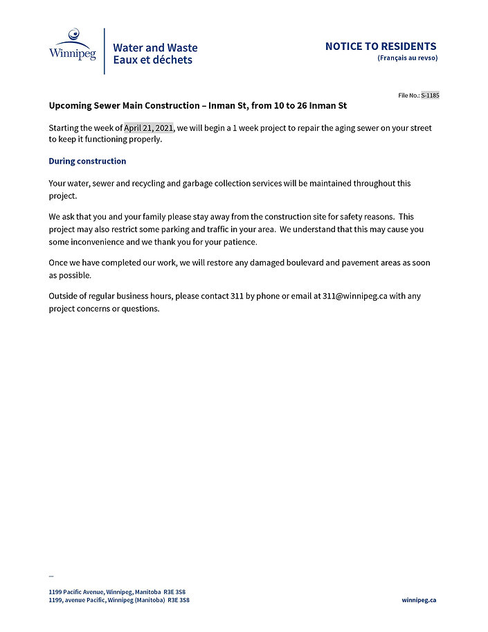 Sewer Construction Notice - Inman St_Pag