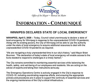 Media Release - Winnipeg Declares State