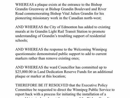 Motion for Historical Marker on Bishop Grandin