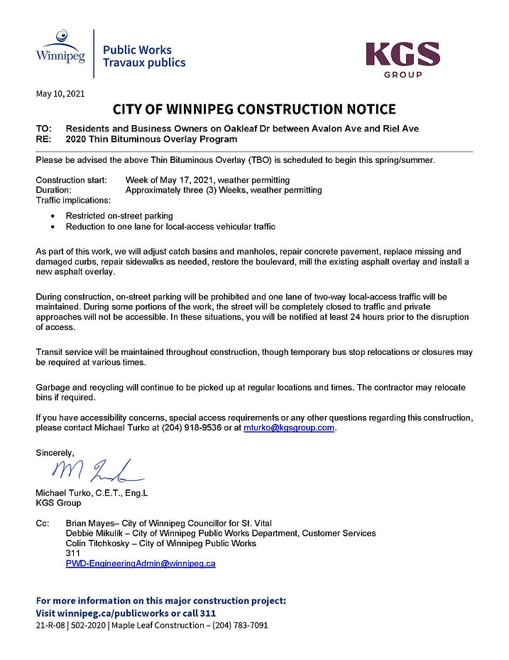 502-2020 Construction Notice_Oakleaf Dr_