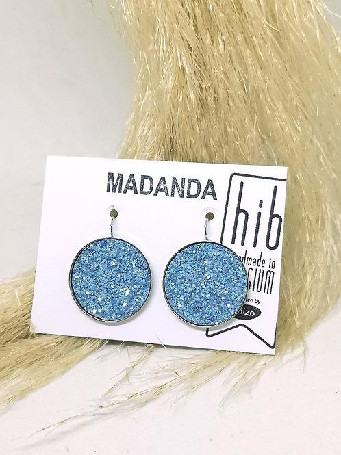 Oorbellen ingelegd met blauwe glitter kunst leder N81