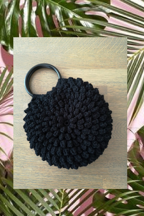 Gehaakte dames handtas (zwart).H1