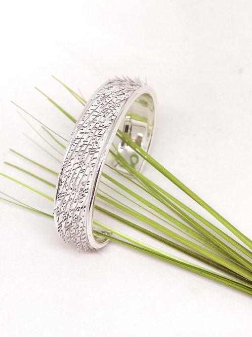 Armband in wit/zilver fantasie rundsleder N271