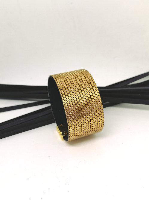 Armband in rundsleder met gouden fantasie print M195