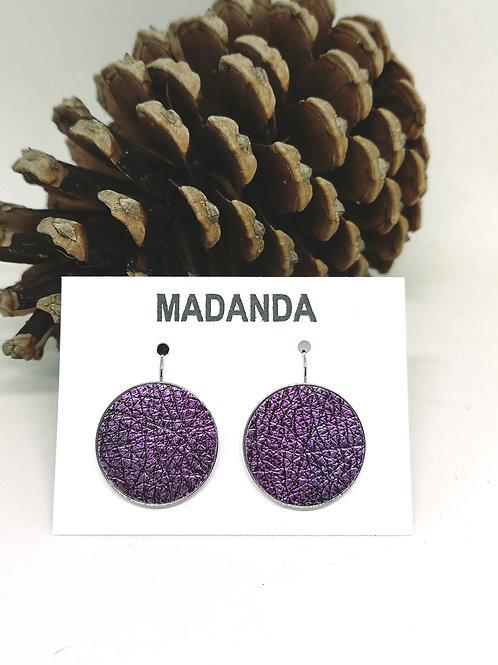 Korte hang oorbellen vast model ingelegd met paars/zwart craquelé N168