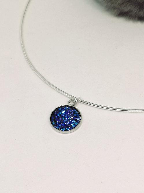 Halsketting in cobalt blauwe swarvoski steentjes. K14. N95.
