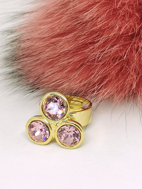 Ring met 3 oud roze swarovski M274