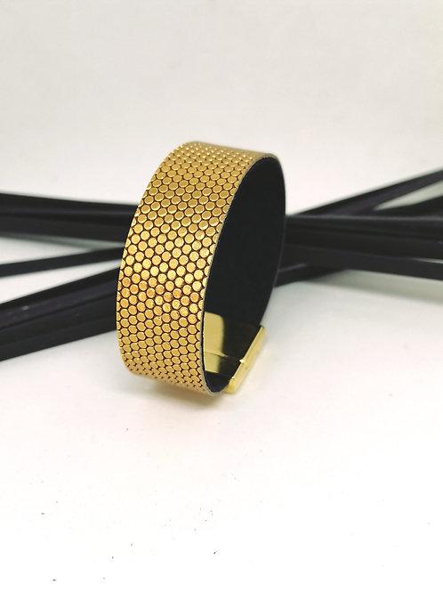 Armband in rundsleder met gouden fantasie print M194