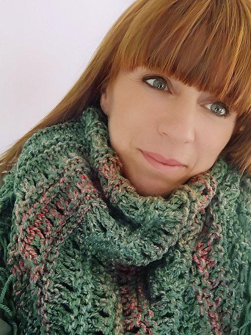 handgebreide omslag sjaal groen/rood S3
