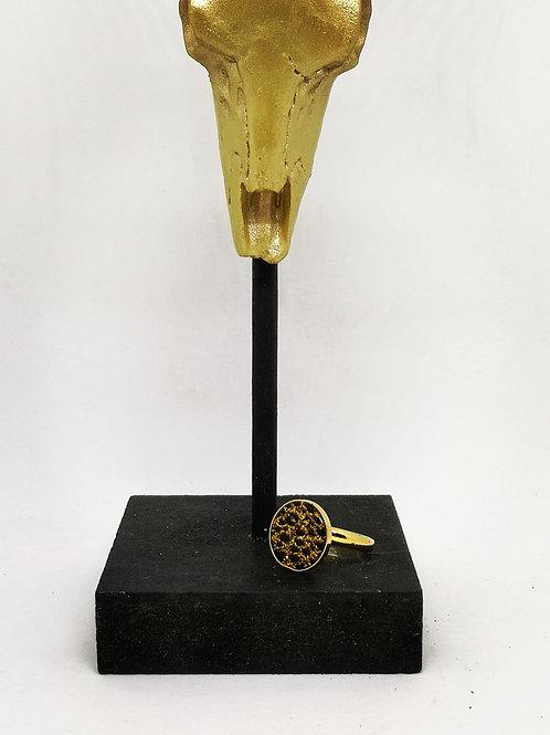 Ring ingelegd met kunststof cabochon , M502