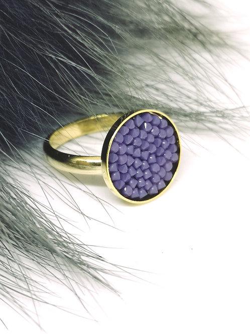 """Ring ingelegd met paars """" opal nair """" swarovski. M233"""