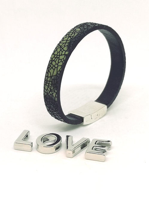 Armband in rundsleder met camoeflageprint P51