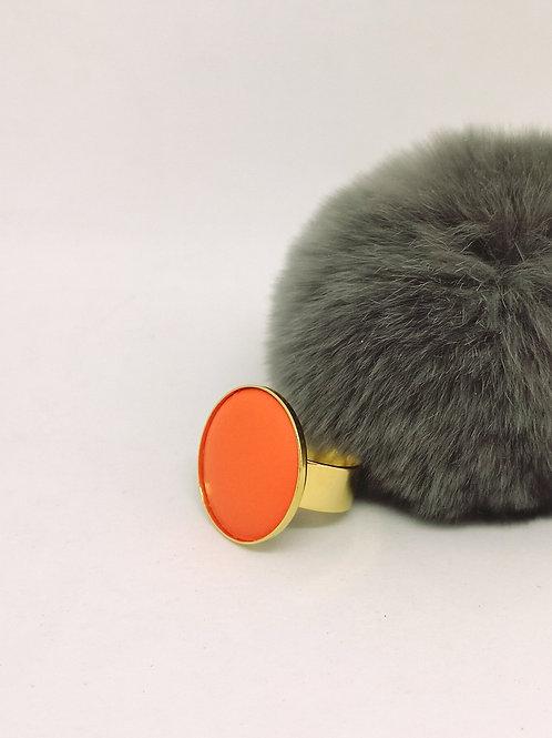 Ring ingelegd met fluo orange rundsleder M1