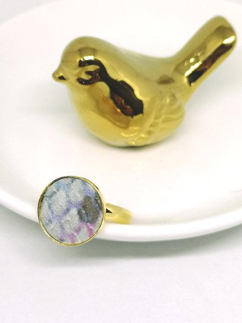 Ring ingelegd met pastel rundsleder met slangenprint M138