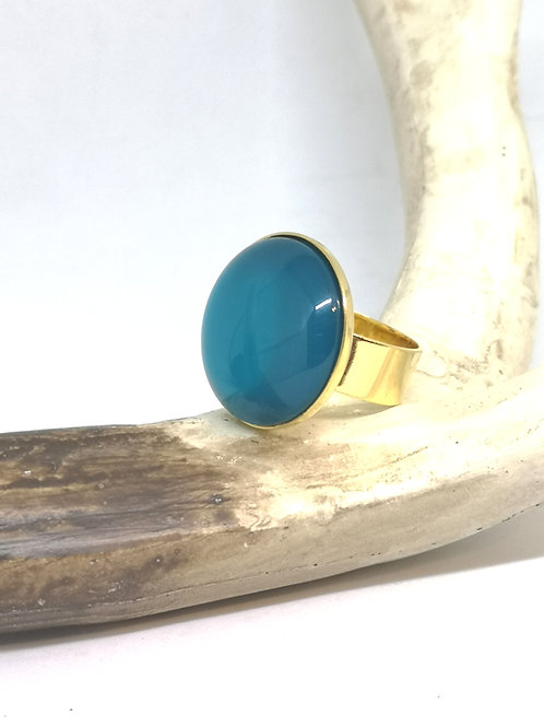 """Ring ingelegd in hars cabochon """"turquoise"""". M580"""