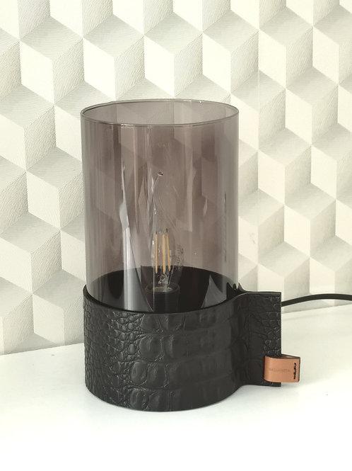 decoratieve sfeerlamp bekleed met zwart tuigleder in crocoprint L9